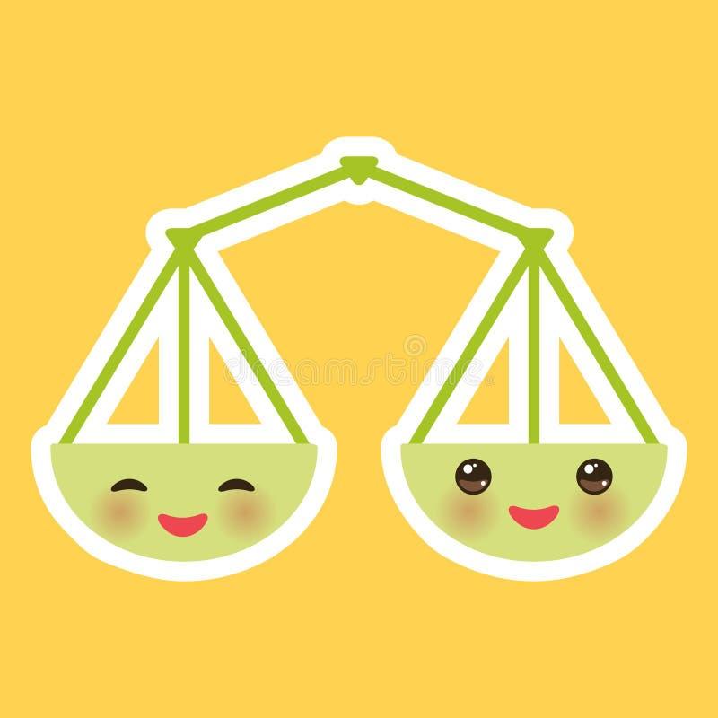 Масштабы зеленого цвета Kawaii, улыбка и большие глаза на оранжевой предпосылке вектор иллюстрация вектора