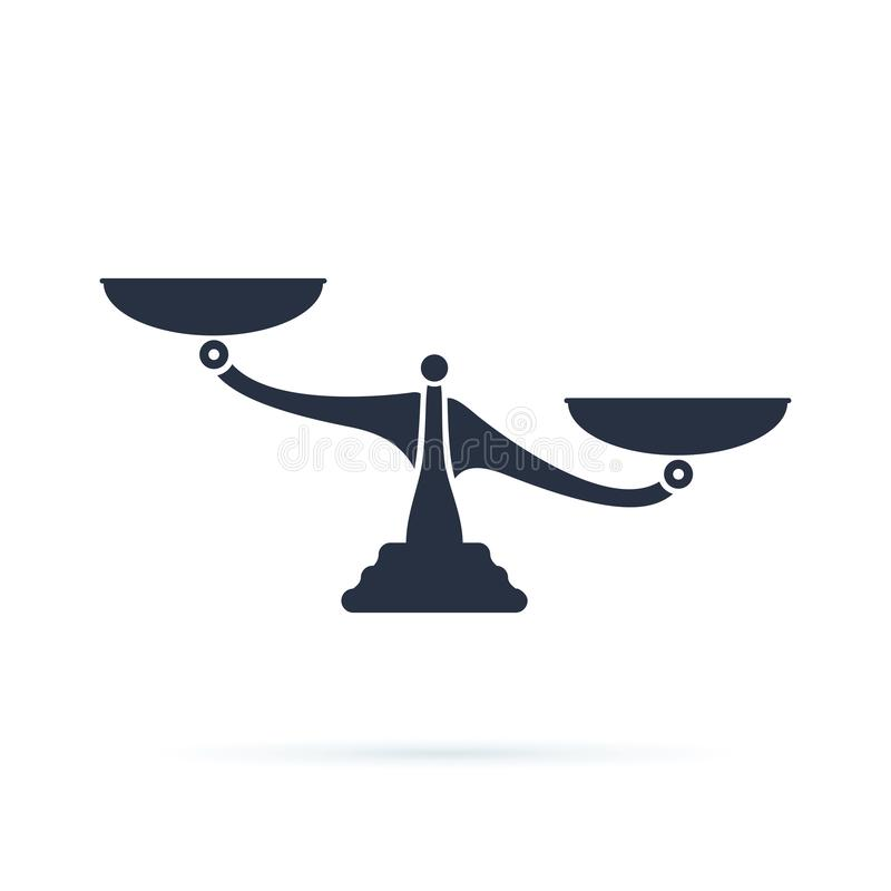 Масштабы, плоский дизайн, иллюстрация вектора на белой предпосылке Libra, значок вектора баланса Символ веса сравните принципиаль иллюстрация вектора