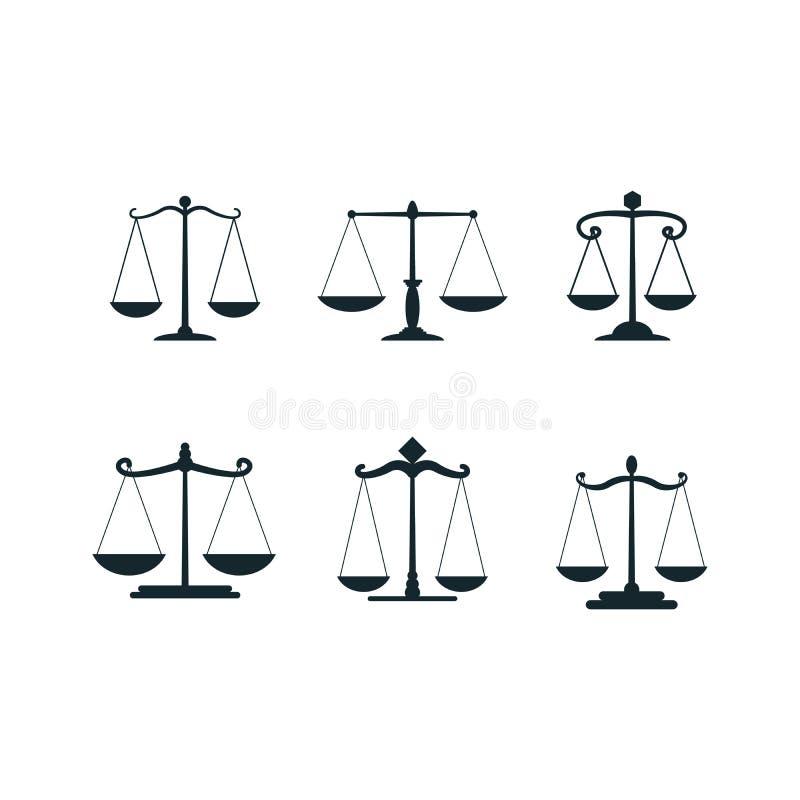 Масштабы правосудия вектора Значки масштаба правосудий установленные или простые решения суда, коррупция и балансировать закона и иллюстрация вектора