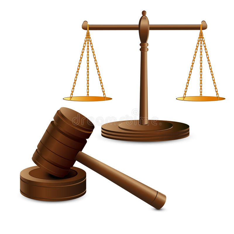 Масштабы правосудие и молоток иллюстрация штока