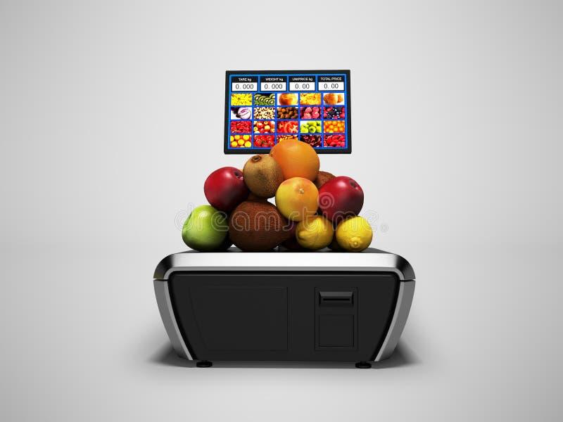 Масштабы серого цвета для различных плодов в супермаркете с ценником 3d представить на серой предпосылке с тенью стоковые изображения rf