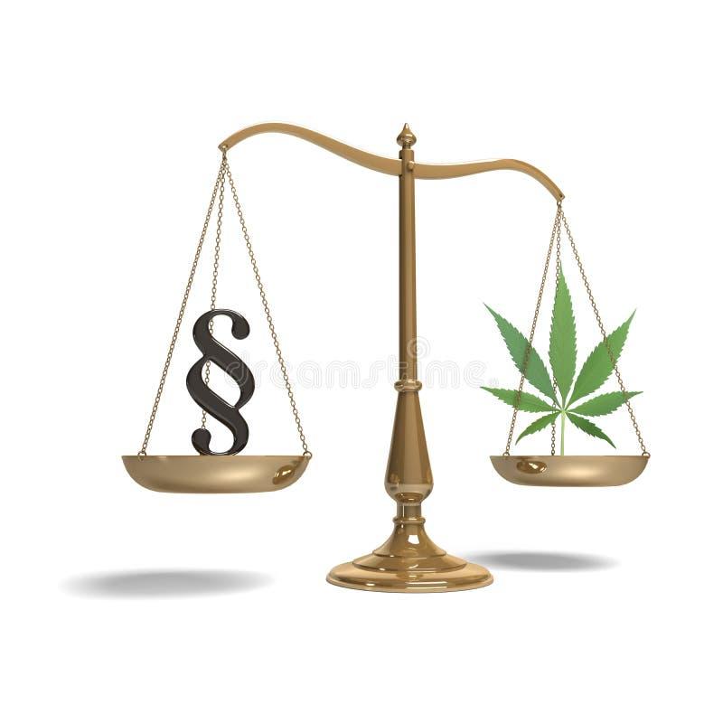 Масштабы с символом и марихуаной параграфа стоковая фотография