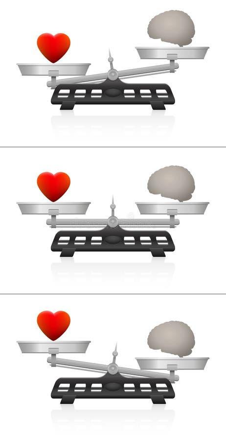 Масштаб баланса важности мозга сердца веся иллюстрация штока