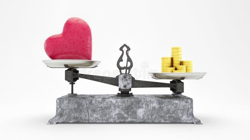 Масштаб баланса с сердцем и золотые монеты, деньги стоимость больше чем концепция 3D любов представляет, иллюстрация 3D бесплатная иллюстрация
