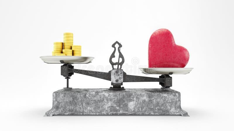Масштаб баланса с сердцем и золотые монеты, любовь стоимость больше чем концепция 3D денег представляет, иллюстрация 3D иллюстрация вектора