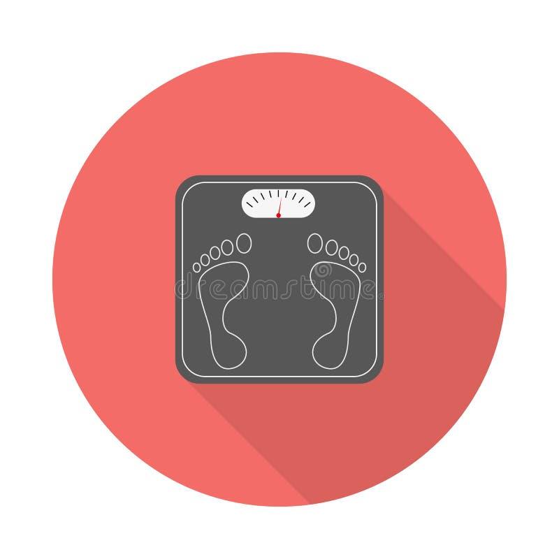 Масштаб веса с длинной тенью Значок масштабов ванной комнаты с длинными тенями Иллюстрация вектора в современном плоском стиле иллюстрация штока