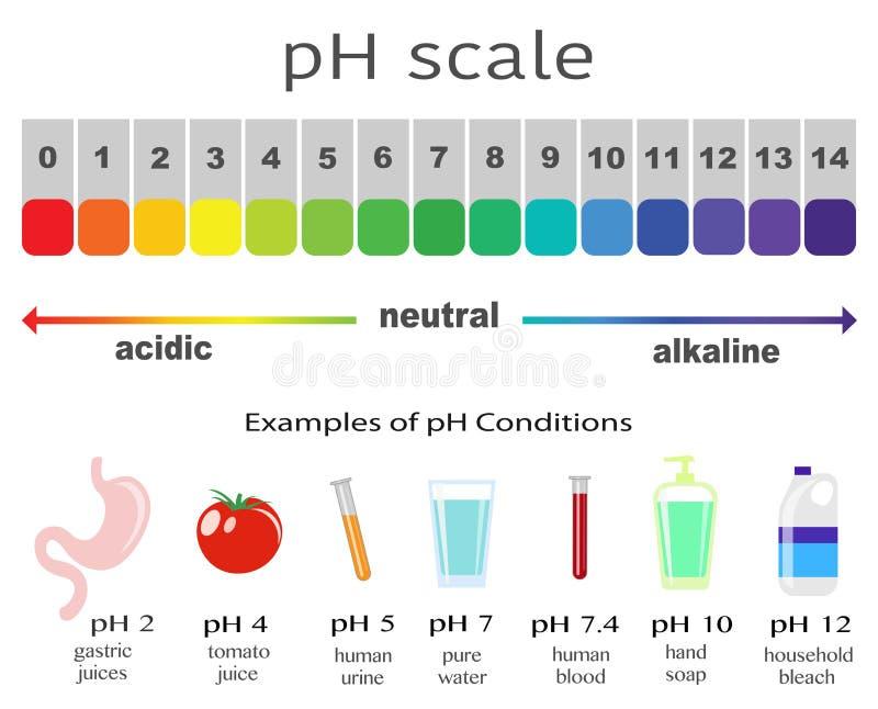 Масштаб значения пэ-аш для кислоты и щелочных растворов иллюстрация штока