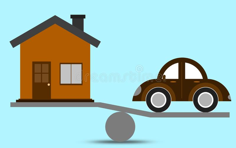 Масштаб с автомобилем и домом иллюстрация вектора