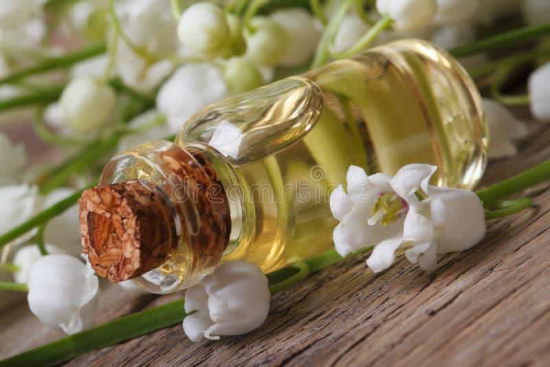 Download Масло лилий долины в стеклянной бутылке Стоковое Изображение - изображение насчитывающей элегантность, пук: 40591399