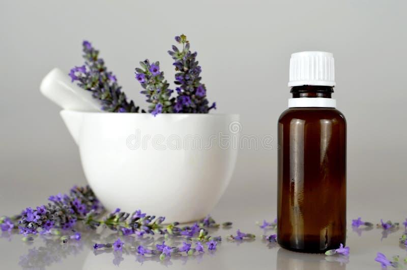 Масло и цветки лаванды стоковое изображение rf