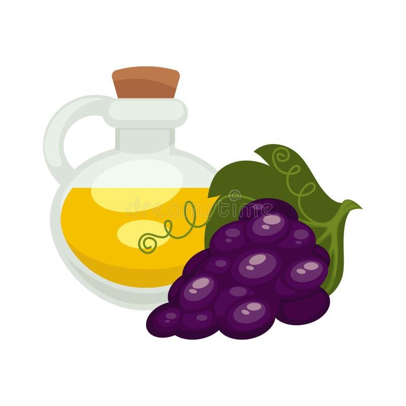 Масло семени виноградины в бутылке Значок вектора изолированный квартирой иллюстрация вектора