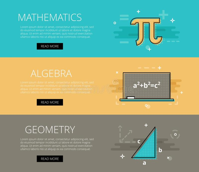 математика alessandra геометрия Комплект шаблона знамен вектора иллюстрация вектора