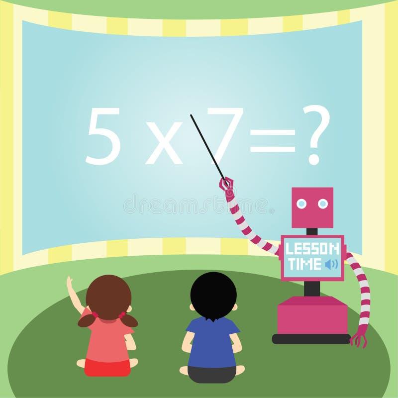 Математики отечественного робота уча к маленькой девочке и мальчику иллюстрация штока