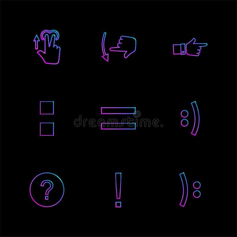 математики, emoji, равные, руки, указатель, стрелки, направления, иллюстрация вектора