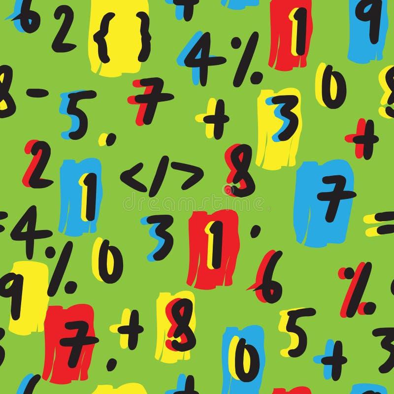 Математически картина номеров нарисованная рукой безшовная на зеленом цвете иллюстрация штока