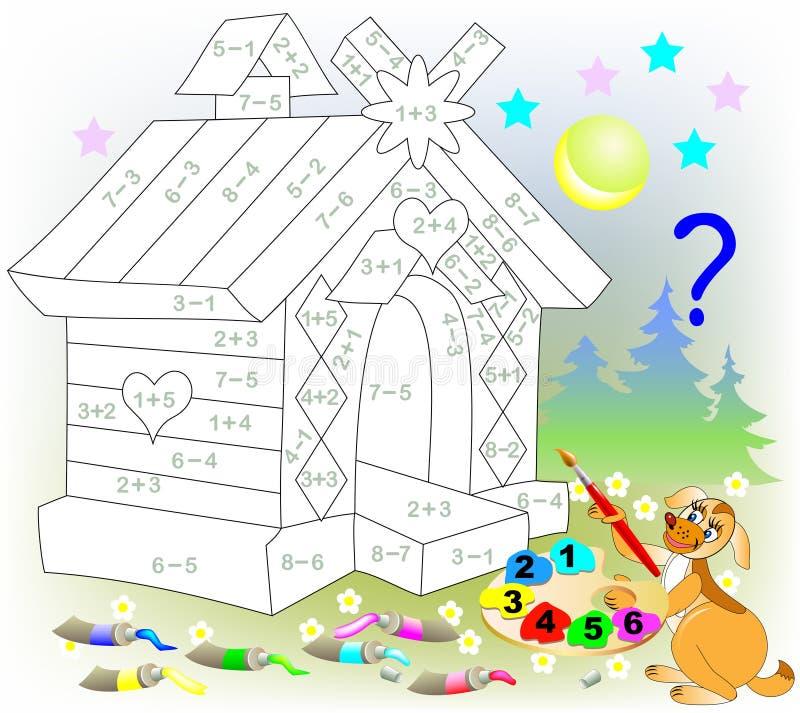 Математически рабочее лист для детей на добавлении и вычитании Нужно разрешить примеры и покрасить изображение в уместных цветах иллюстрация вектора