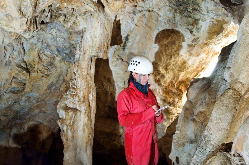 Материалы обследования Caver внося в журнал во время отображать подземелья стоковая фотография rf