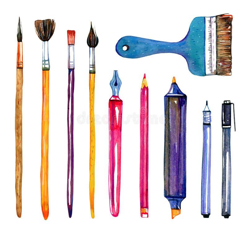 Материалы художника - щетки и ручки Набор иллюстрации акварели эскиза руки вычерченный иллюстрация вектора