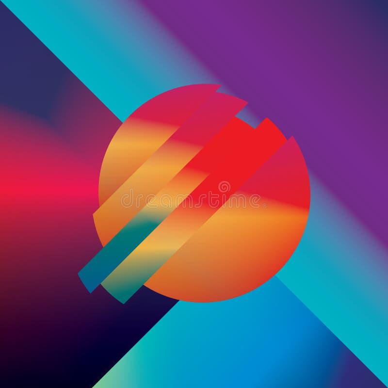 Материальная предпосылка вектора конспекта дизайна с геометрическими равновеликими формами Яркий, яркий, лоснистый красочный симв иллюстрация вектора