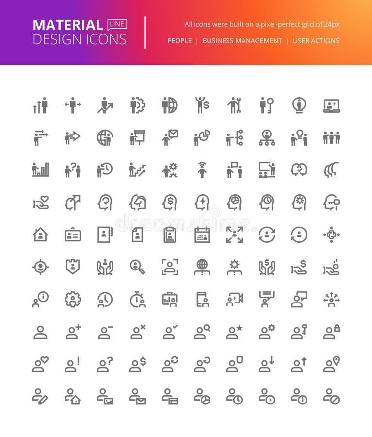 Материальные установленные значки людей дизайна иллюстрация вектора