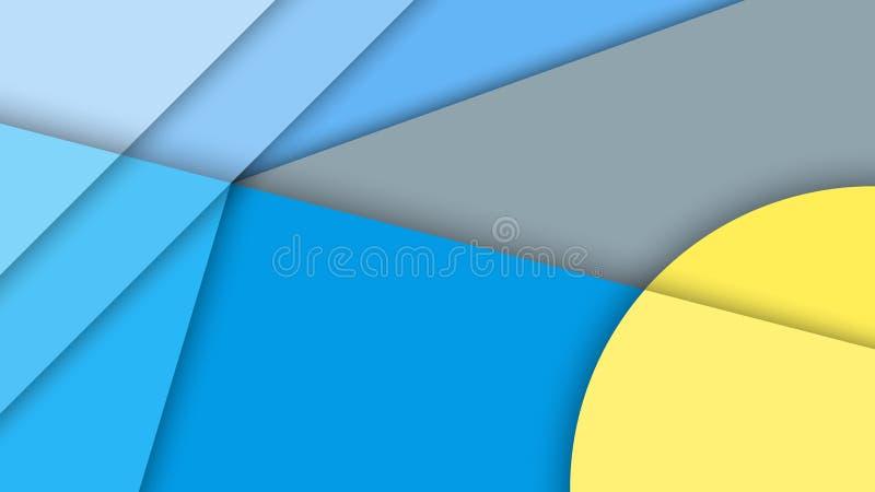 Материальный дизайн, абстрактная предпосылка с различными поверхностями уровней и круги иллюстрация штока