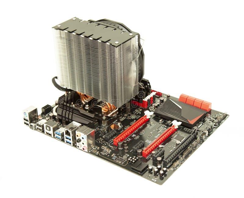 Материнская плата компьютера изолированная на белизне стоковое изображение rf