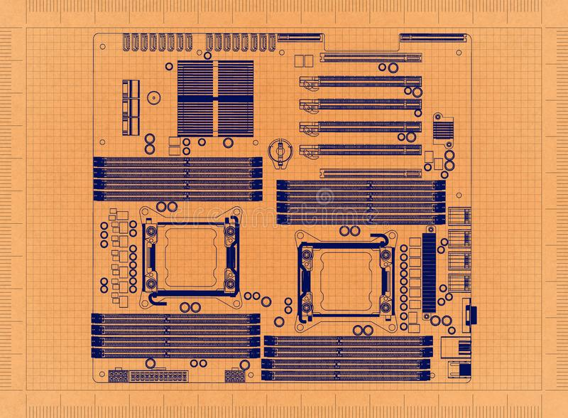 Материнская плата компьютера - ретро светокопия иллюстрация штока