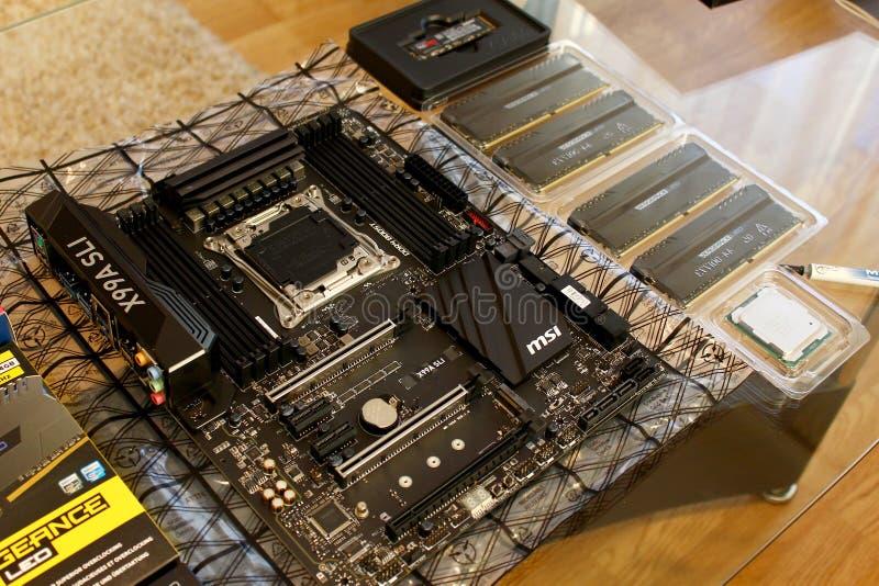 Материнская плата компьютера, оперативная память, C.P.U. стоковые изображения rf
