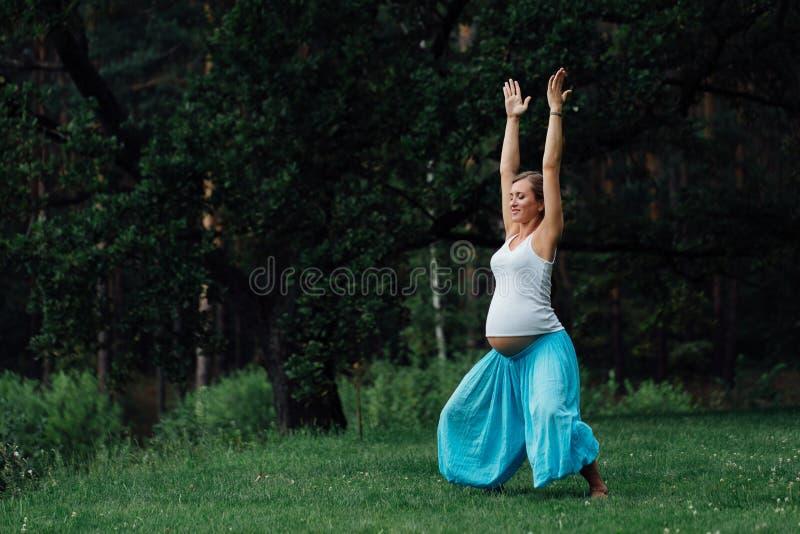 Материнство беременной йоги пренатальное делая различные тренировки в парке на траве, дышать, протягивая, статика стоковое изображение rf
