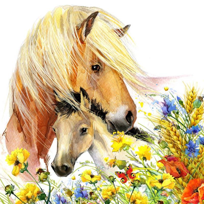 Материнство лошади и осленка иллюстрация приветствиям предпосылки иллюстрация штока