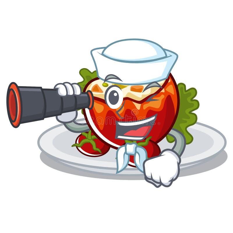 Матрос с бинокулярными заполненными томатами на доске мультфильма иллюстрация вектора