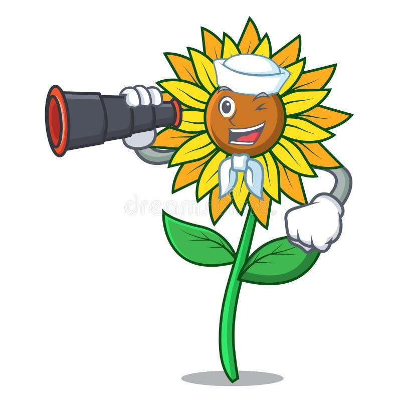 Матрос с бинокулярным стилем шаржа талисмана солнцецвета бесплатная иллюстрация