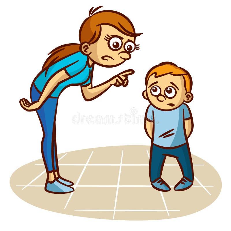 Мать бранит ребенка бесплатная иллюстрация