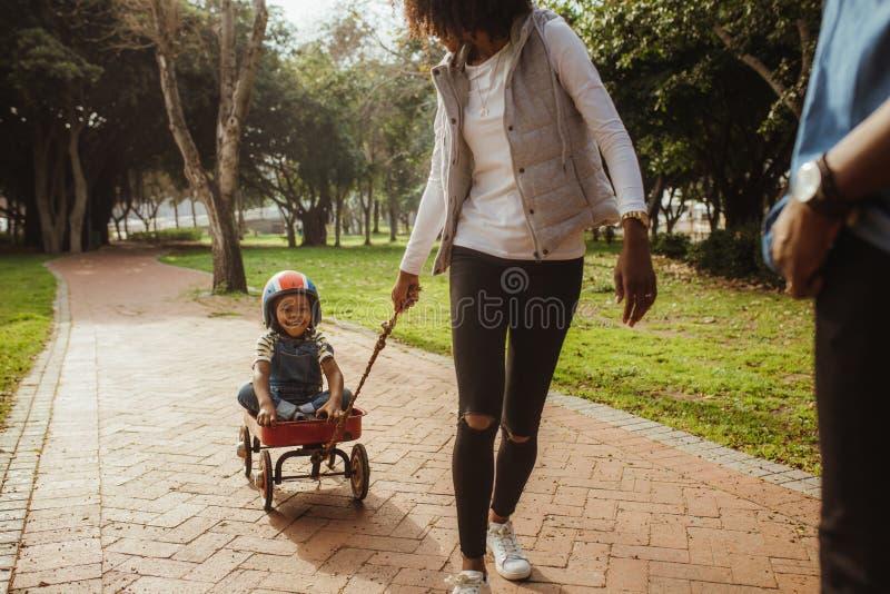 Мать вытягивая детей в фуре на парке стоковое изображение
