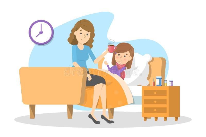 Мать дает горячий чай больному ребенку с лихорадкой иллюстрация штока