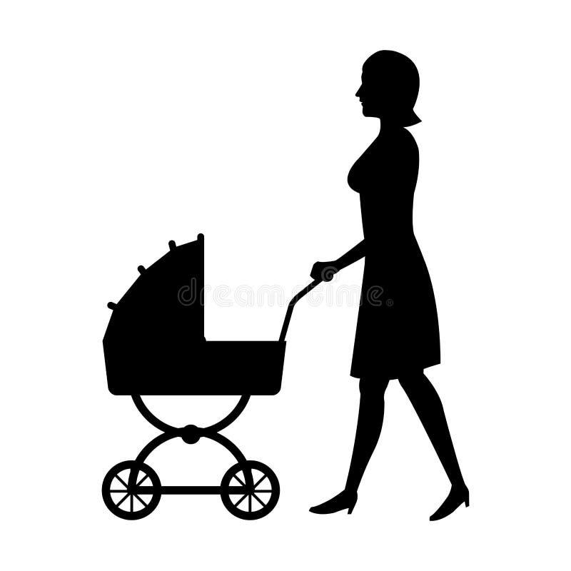 Мать женщины силуэта с идти младенца pram иллюстрация штока