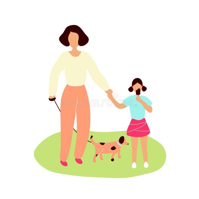 Мать идя с меньшей дочерью иллюстрация штока