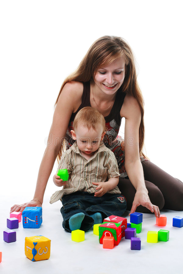 мать изолированная младенцем стоковые изображения