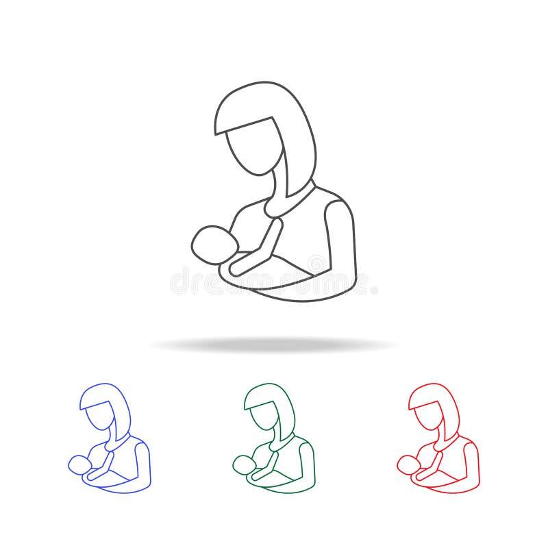 мать иконы младенца Элементы дня матери в multi покрашенных значках Наградной качественный значок графического дизайна Простой зн иллюстрация штока