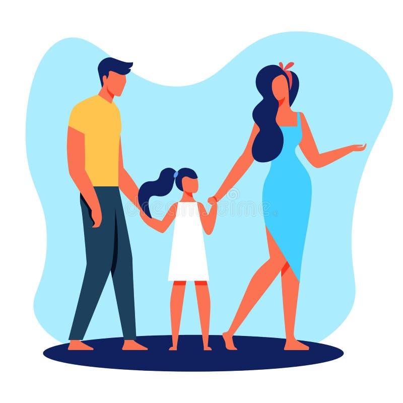 Мать и дочь отца семьи с босыми ногами иллюстрация вектора