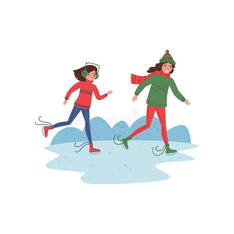 Мать и ее дочь катаясь на коньках на льде Деятельность при зимы Молодые счастливые женщина и девушка в теплых одеждах Плоский диз иллюстрация вектора