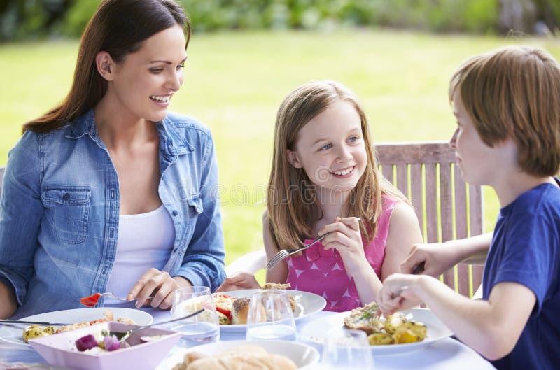 Мать и дети наслаждаясь внешней едой совместно стоковые изображения