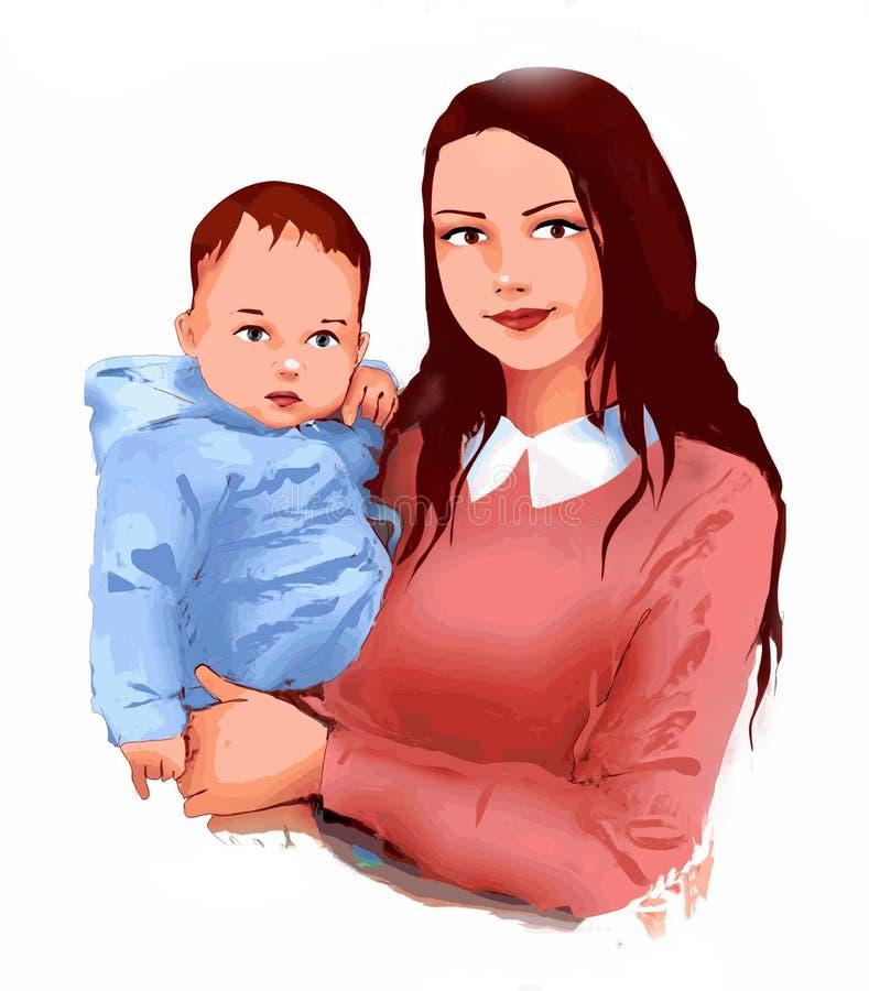 Мать и маленькая забота младенца младенца, питомник младенца, материнство, жизнь, развитие младенца, поздравительная открытка бесплатная иллюстрация