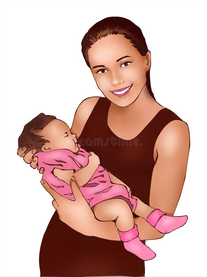 Мать и маленькая забота младенца младенца, питомник младенца, материнство, жизнь, развитие младенца, поздравительная открытка иллюстрация вектора