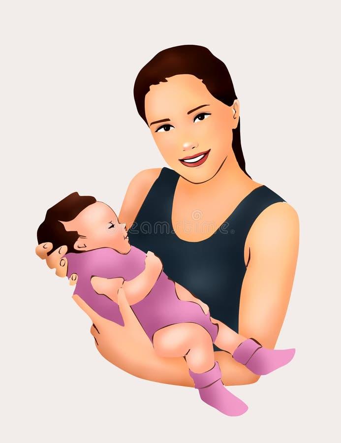 Мать и маленькая забота младенца младенца, питомник младенца, материнство, жизнь, развитие младенца, поздравительная открытка иллюстрация штока