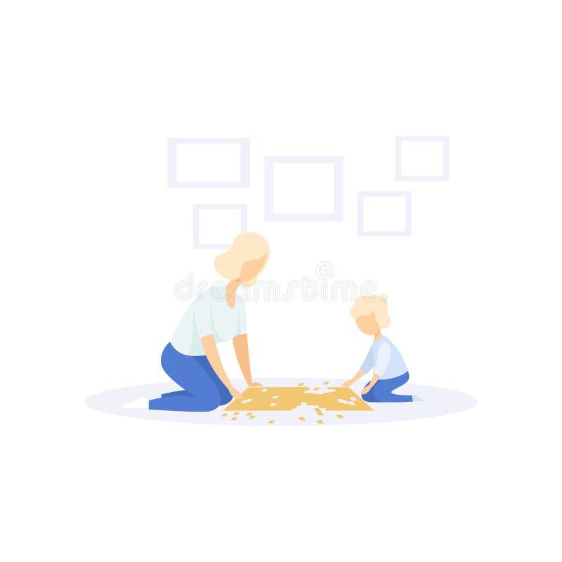 Мать и маленький ребенок разрешая мозаику, иллюстрацию вектора концепции образа жизни семьи на белой предпосылке иллюстрация вектора
