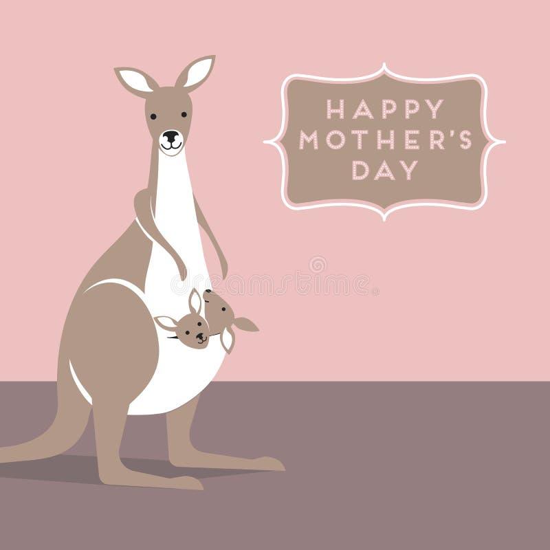 Мать и младенец кенгуру в ее мешке бесплатная иллюстрация