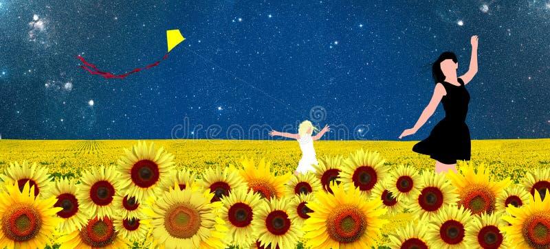 Мать и дочь идя в солнцецветы field иллюстрация вектора