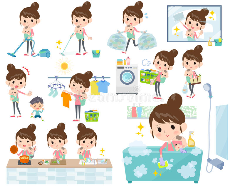 Мать и baby_housekeeping иллюстрация вектора