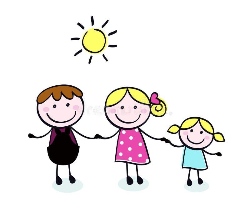 мать малыша отца семьи doodle иллюстрация вектора